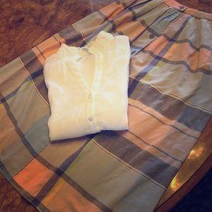 Plaid Cotton Skirt 10 w/Linen Blouse M